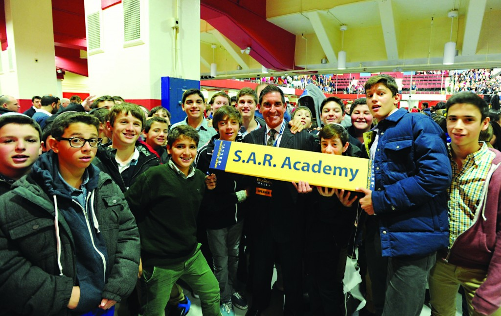Jewish students on Tuesday pose with state Sen. Jeff Klein of the Bronx, who leads the Independent Democratic Conference which leads the Senate together with the Republicans, at the school choice rally in Westchester County, N.Y. (El-Wise)