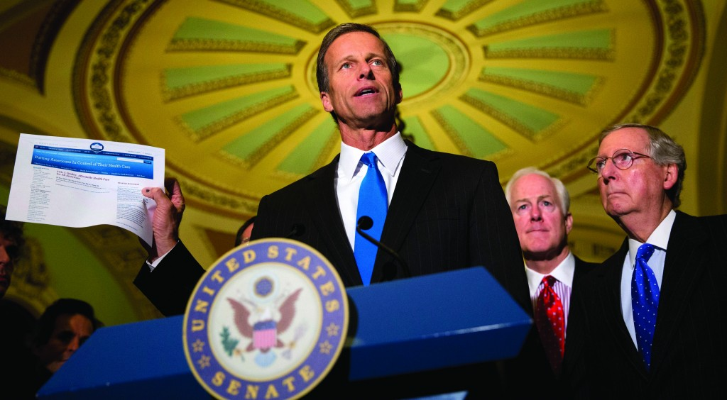 """Sen. John Thune, R-S.D., left, accompanied by Senate Minority Whip John Cornyn of Texas, center, and Senate Minority Leader Mitch McConnell of Ky speaks about """"Obamacare,"""" during a news conference on Capitol Hill in Washington, Tuesday, following a Republican policy luncheon. (AP Photo/Jacquelyn Martin)"""