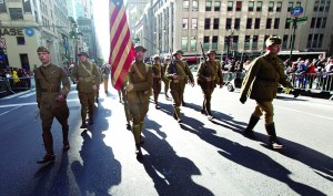 World War I Doughboys from the Long Island Living History Association march on Fifth Ave.