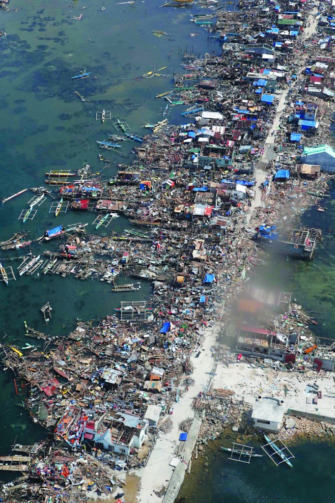 An aerial view of part of the devastation of super-Typhoon Haiyan: a battered a town in Samar province in central Philippines. (REUTERS/Erik De Castro)