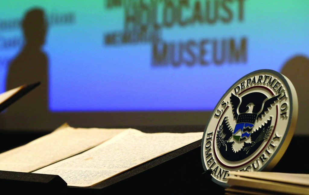 The long-lost diary of Alfred Rosenberg, a top aide to Adolf Hitler, is displayed at the Holocaust Museum in Washington Tuesday. (REUTERS/Gary Cameron)