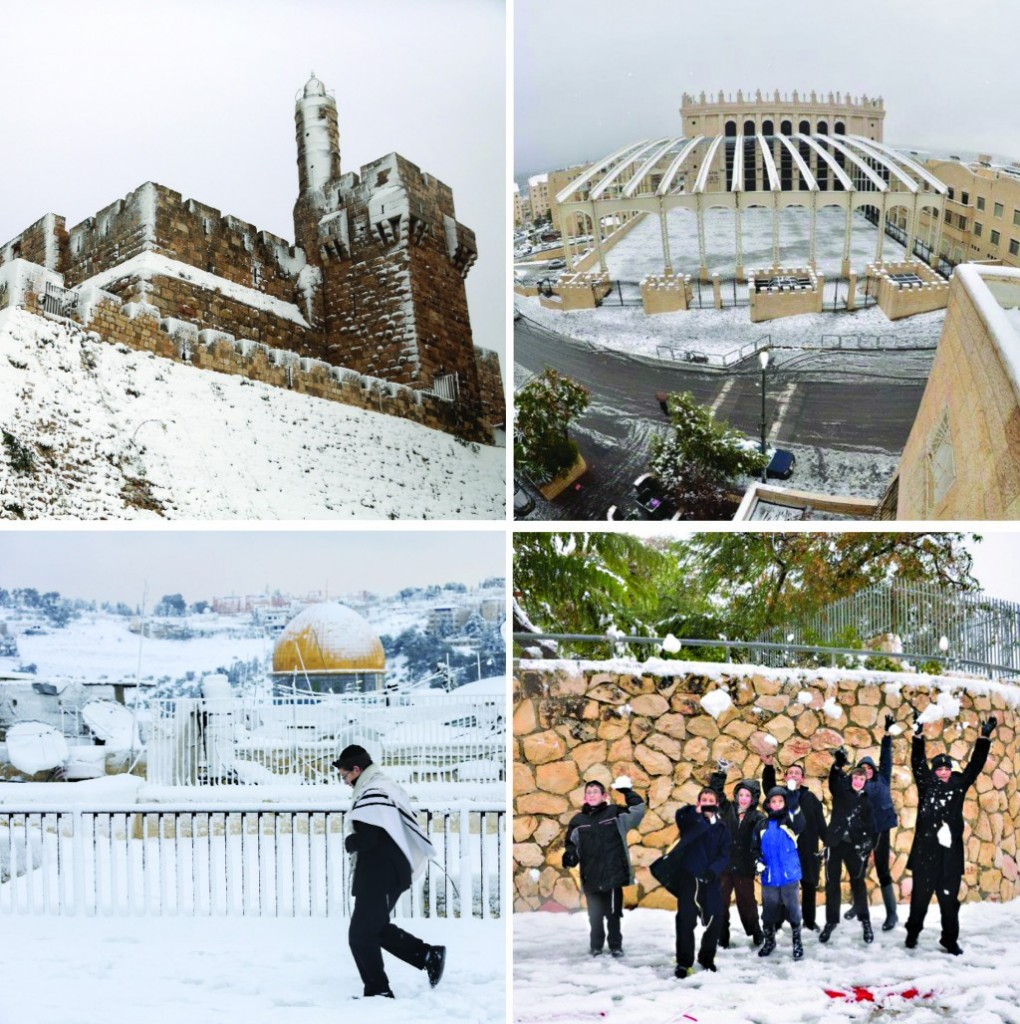 Clockwise from top right: Panoramic view of snow-capped Kiryas Belz with the famous beis medrash towering in the back; children enjoying their rare good fortune, tossing packed snow; braving the weather in Yerushalayim; Migdal Dovid in the Old City. (JDN/FLASH0)