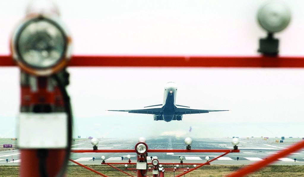 A jetliner takes off from Washington's Ronald Reagan National Airport, Monday. (AP Photo/J. David Ake)