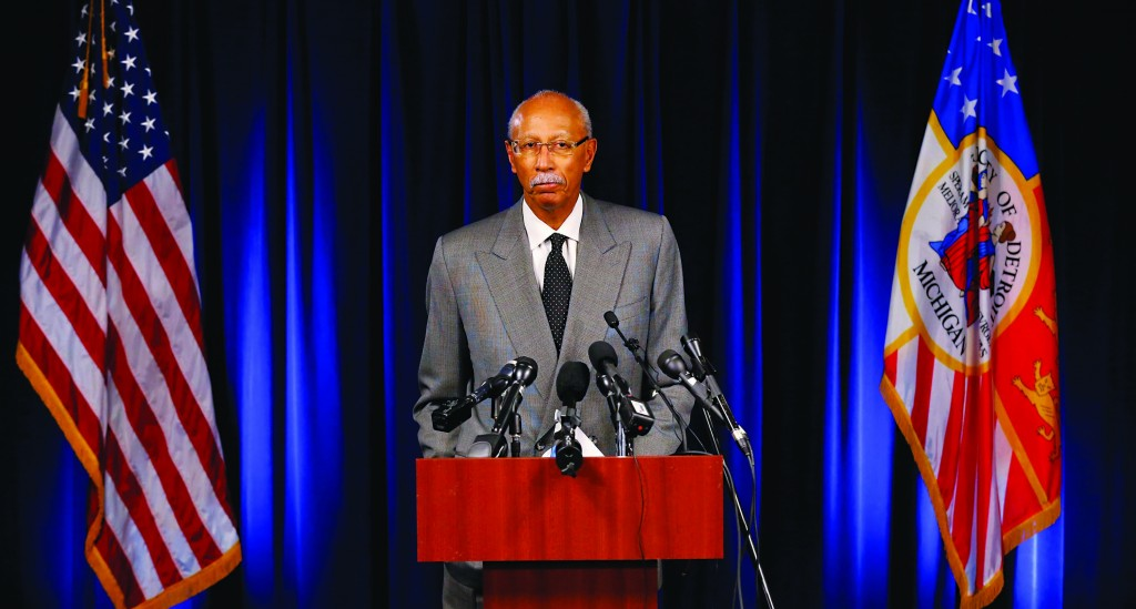 Detroit Mayor Dave Bing speaks at a news conference in Detroit Tuesday. Detroit is eligible to shed billions in debt in the largest public bankruptcy in U.S. history, a judge said Tuesday in a long-awaited decision that now shifts the case toward how the city will accomplish that task. (AP Photo/Paul Sancya)
