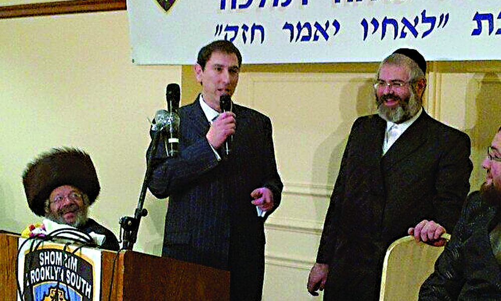 Councilman-elect Chaim Deutsch (left picture) and Councilman David Greenfield (right picture) addressing the annual Boro Park Shomrim melaveh malkah on Motzoei Shabbos. (Pinny Ringel)