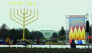 The National Menorah stands proudly in The Ellipse in front of the White House in Washington D.C.