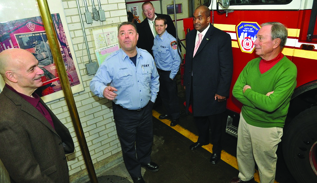 Mayor Bloomberg on Wednesday visits a Queens fire station to thank workers as he winds down a 12-year mayoral career. (Samantha Modell)