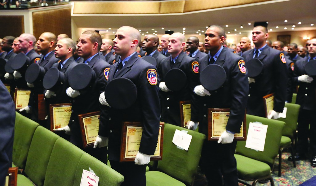 Mayor Michael Bloomberg presides over the fire department graduation ceremony in Brooklyn. The 242 graduates are the most diverse group in the Fire Department's history, with 62 percent of its members identifying as minorities, including 24 percent as black and 36 percent as Hispanic. (AP Photo/Mark Lennihan-Spencer T Tucker)