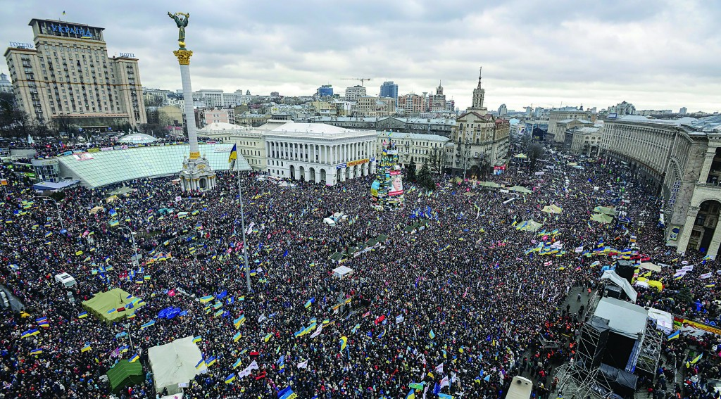 Pro-European Union activists gather during a rally in Independence Square and Kreshchatik, the main street of Kiev, Ukraine, on Sunday. (AP Photo/Andrew Kravchenko)