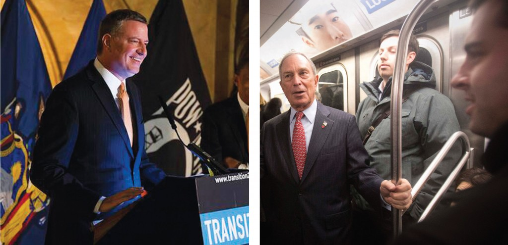 (L) Mayor-elect Bill de Blasio on Sunday at a press conference in Manhattan introducing an administration appointee.  (R) Outgoing mayor Michael Bloomberg rides the subway after he left City Hall for last time as Mayor of New York, December 31, 2013. Bloomberg rode the subway home to his Upper East Side home. (REUTERS/Carlo Allegri)