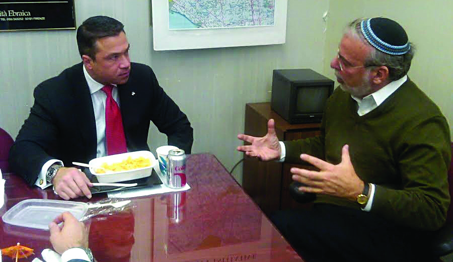Rep. Michael Grimm visiting Assemblyman Dov Hikind on Tuesday to discuss the Nazi war criminals in the U.S. (Office of Assemblyman Dov Hikind)