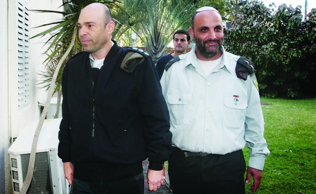 IDF Lieutenant Colonel Shalom Eisner (R), seen at military court on Thursday. (Roni Schutzer/FLASH90)