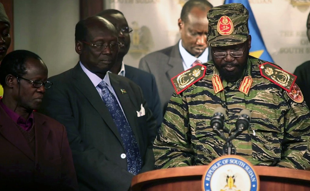 South Sudan's President Salva Kiir addresses a news conference at the Presidential Palace in Juba on Monday. (REUTERS/Hakim George)