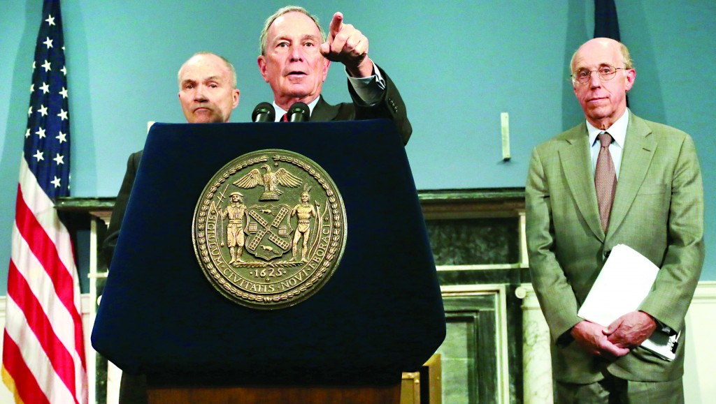 Mayor Michael Bloomberg at an April 12, 2013, press conference with Police Commissioner Ray Kelly (L) and Michael Cardozo, the city's counsel. (Edward Reed/Office of the Mayor)