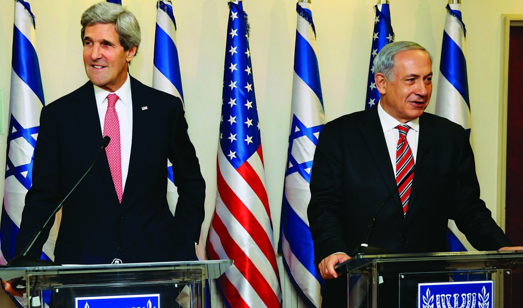 Secretary of State John Kerry (L) and Israeli Prime Minister Binyamin Netanyahu address a joint news conference following a meeting on Thursday morning at Netanyahu's office in Yerushalayim. (REUTERS/Gali Tibbon/Pool)