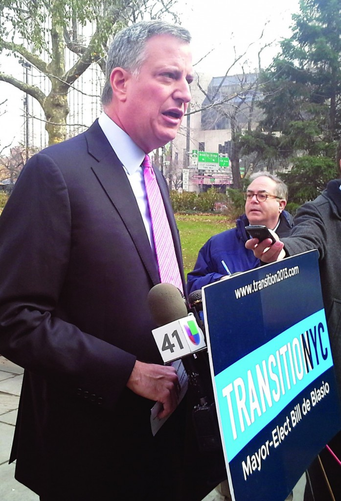 Mayor-elect Bill de Blasio at a press conference following his meeting with state lawmakers Monday. (Ross Barkan/Politicker)