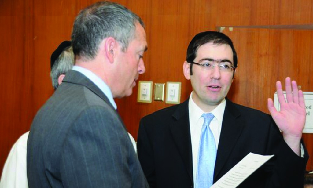 Lakewood Committeeman Menashe Miller taking the oath of office in this file photo. (TheLakewoodScoop.com)