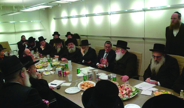 Partial view of a meeting of the askanim planning the mass rally, at the offices of Mr. Shlomo Werdiger, Chairman of the Board of Trustees of Agudath Israel of America.