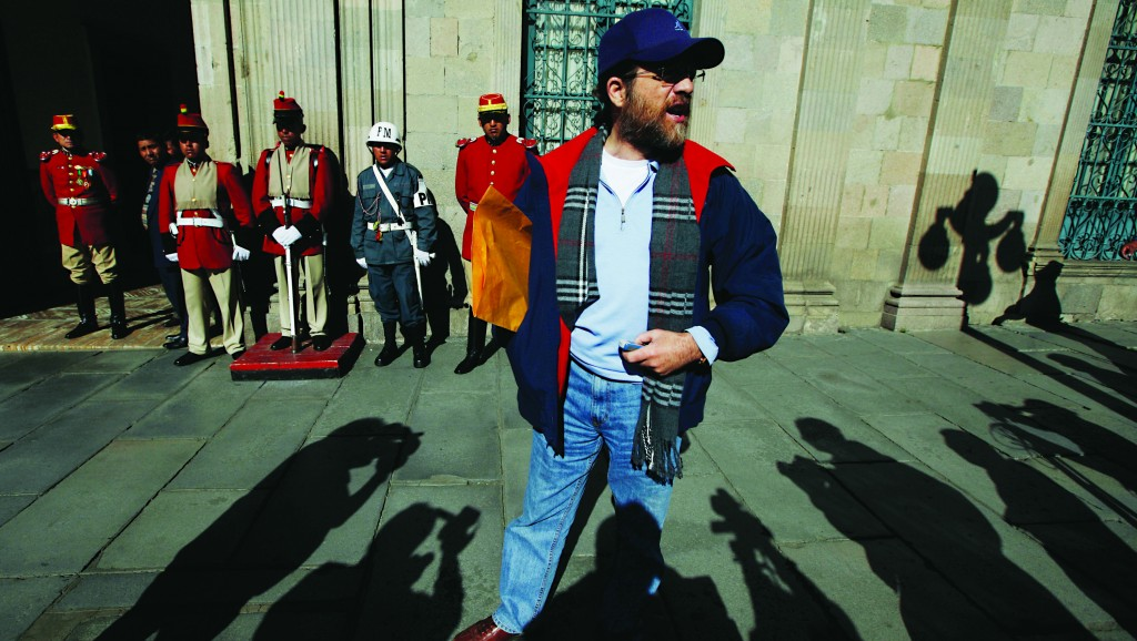 Jacob Ostreicher arrives at the government palace on May 23, 2013, to deliver a letter to Bolivia's President Evo Morales in La Paz. (AP Photo/Juan Karita )
