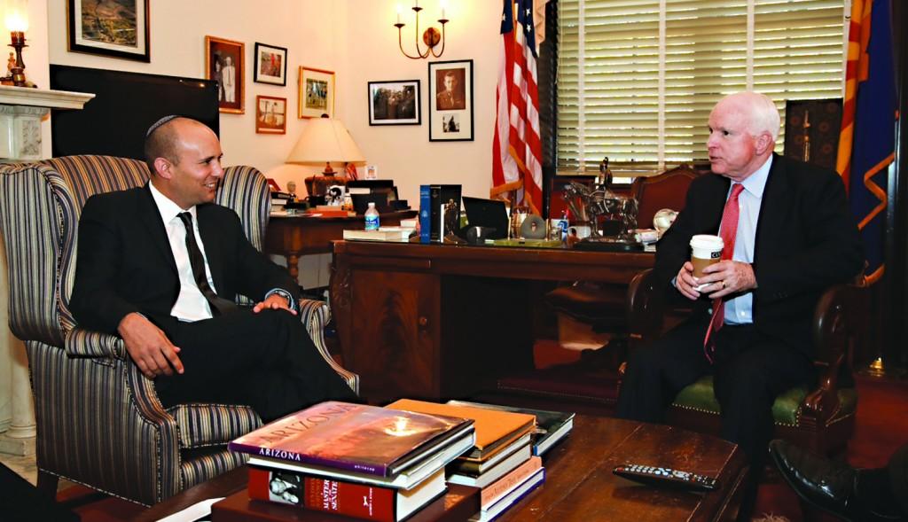 Israeli Minister of Economics Naftali Bennett (L) met with Republican Senator John McCain (R) in Washington D.C during a trip to the U.S. recently. (Shmulik Almany/Flash90)