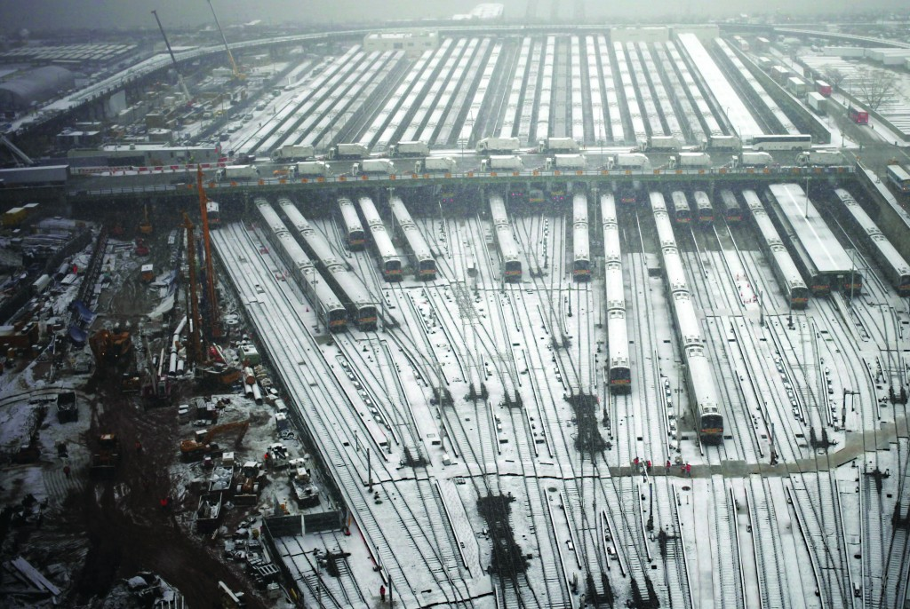 Train tracks outside of New York's Penn Station on Tuesday are covered in snow.