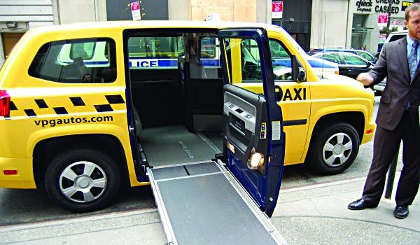 A wheelchair-accessable taxi in New York City.