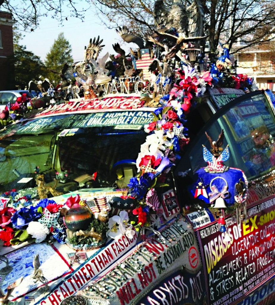 """Lynda Farley's minivan, dubbed the """"Liberty Van,"""" in Belvidere, N.J., on Monday, a day before her $56 obstructed view ticket was dismissed. (AP Photo/The Express-Times, Matthew Bultman)"""