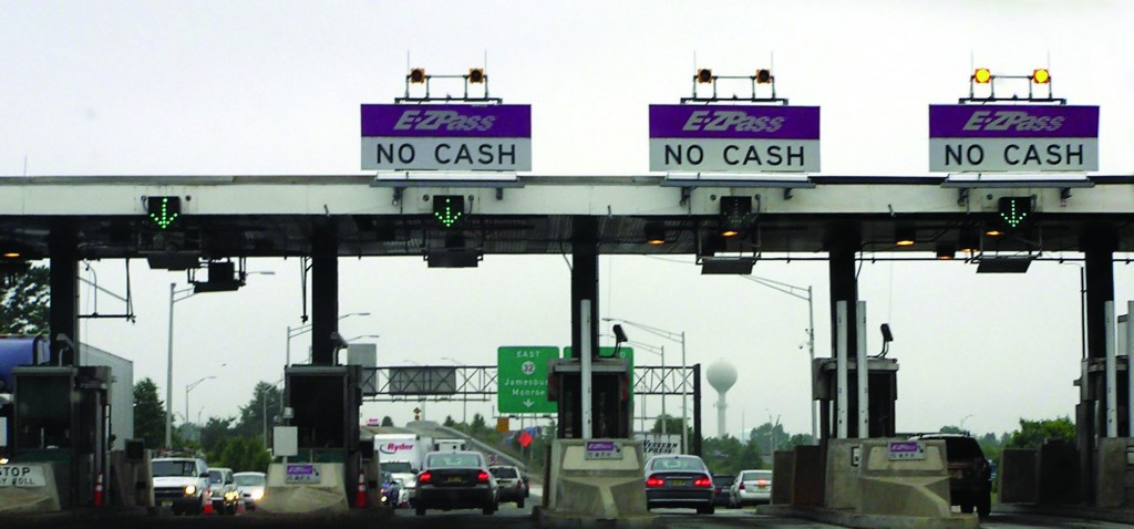 A New Jersey Turnpike toll in Monroe Township, N.J. Drivers who insist on manually paying are keeping the dwindling jobs of human toll collectors.