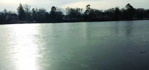 The Lakewood lake is frozen over on Friday in Lakewood, N.J. (Aaron Housman)