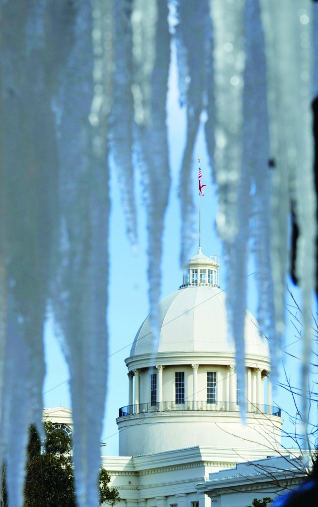 Montgomery, Alabama  The Capitol is seen through a frozen fountain at the Alabama Association of Realtors.