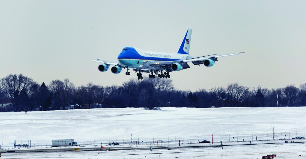 Air Force One, with President Barack Obama aboard, arrives at the Wisconsin Air National Guard 128th Refueling Wing in Milwaukee, Thursday. (AP Photo/Tom Lynn)