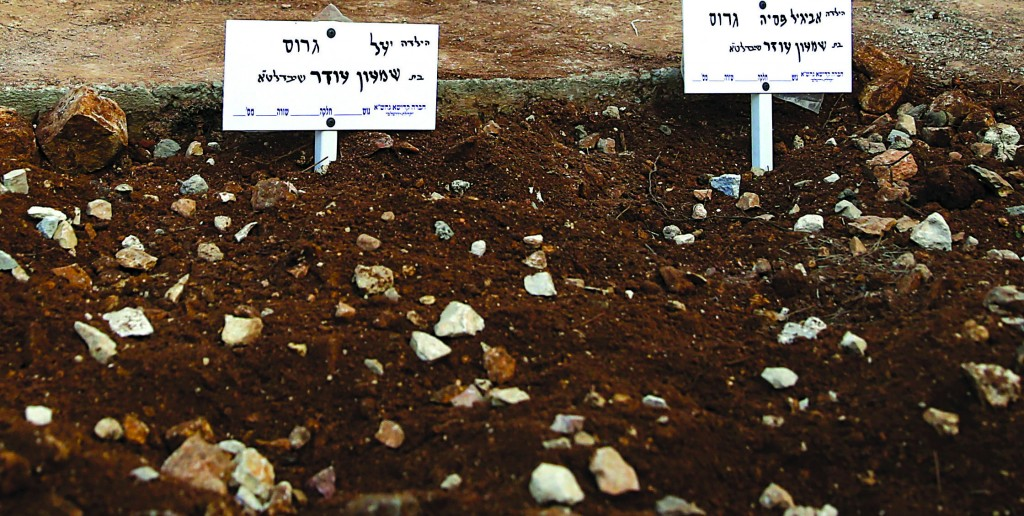 "The fresh graves of Yael and Avigail Gross, z""l, who were buried on Thursday at Har Hamenuchos in Yerushalayim. (Hadas Parush/Flash 90)"