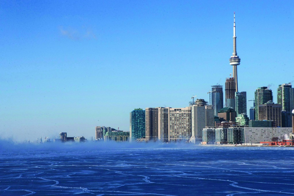 Toronto, Canada  The Toronto skyline is pictured with a frozen section of Lake Ontario.