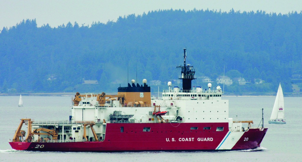This file photo shows the U.S. Coast Guard icebreaker Healy leaving Seattle for a scientific mission in the Arctic that will include breaking ice well north of Barrow, Alaska. The U.S. is racing to keep pace with stepped-up activity in the once sleepy Arctic frontier, but it is far from being in the lead. (AP Photo/Ted S. Warren, File)