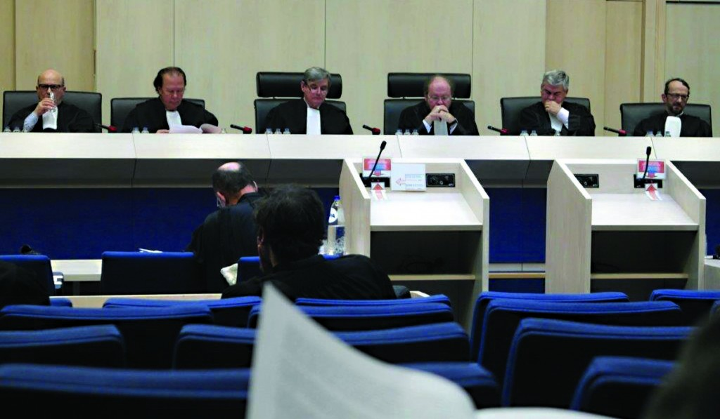 Partial view of the 12-judge panel of the Constitutional Court in Belgium who are considering the case regarding a mandated curriculum.