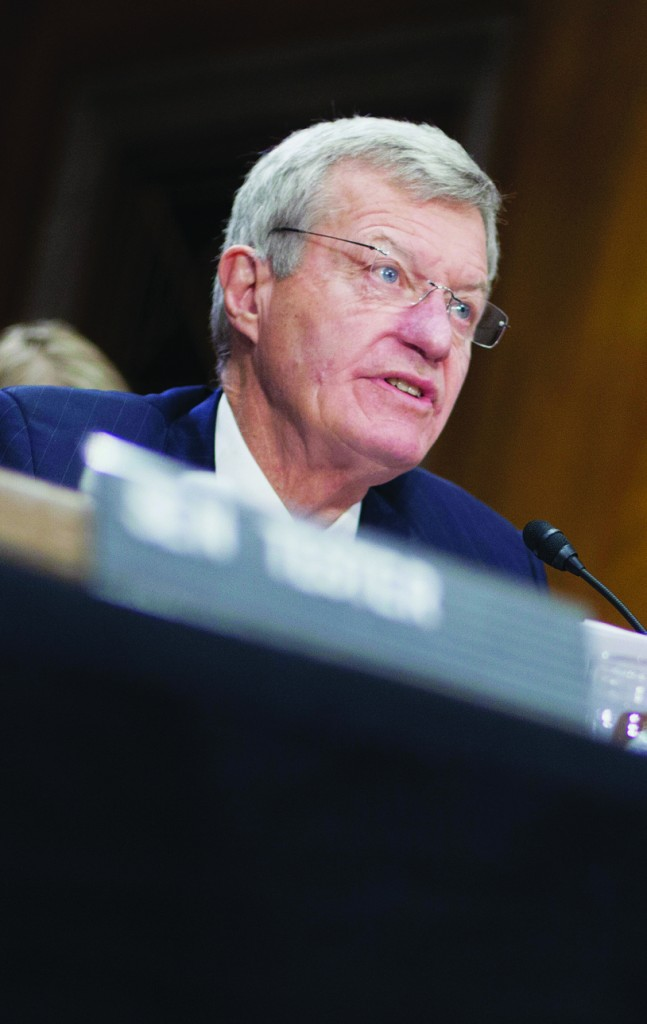 Retiring Montana Sen. Max Baucus testifies on Capitol Hill in Washington, Tuesday, before the Senate Foreign Relations Committee on his nomination to become U.S. ambassador to China. (AP Photo/Pablo Martinez Monsivais)