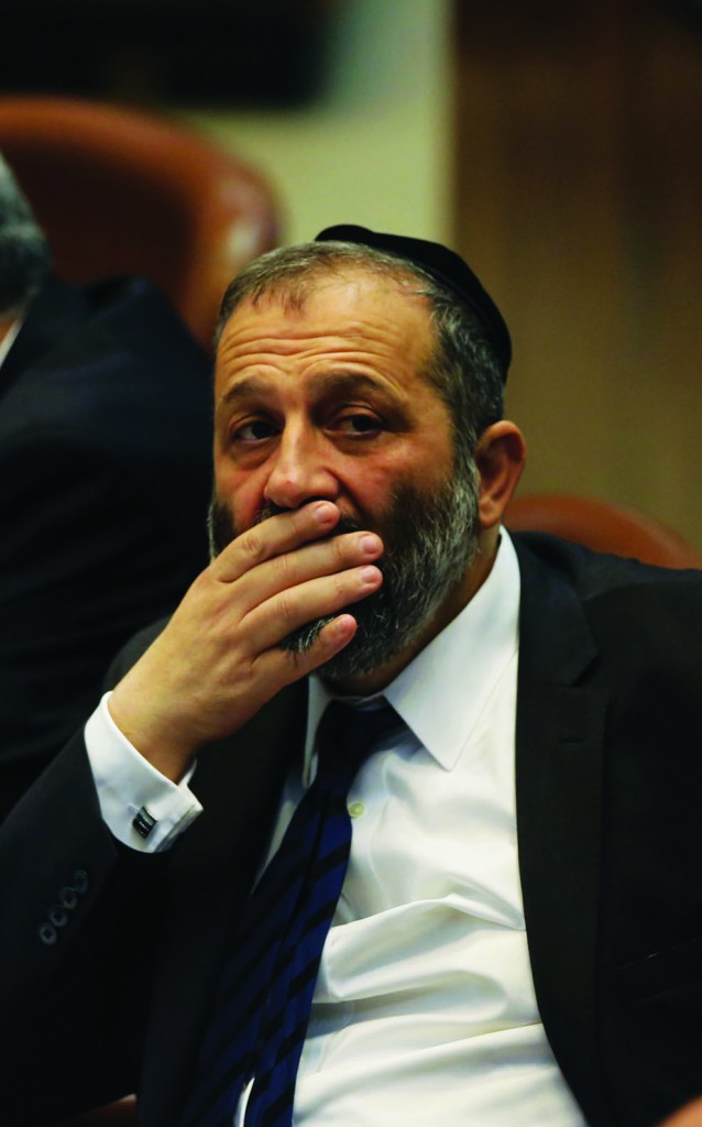 Shas party chairman Aryeh Deri (Yonatan Sindel/Flash90)