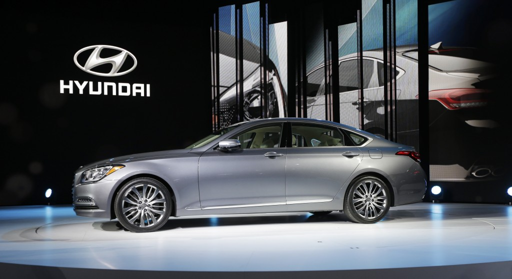 The Hyundai Genesis is unveiled at the North American International Auto Show in Detroit on Monday. (AP Photo/Carlos Osorio)