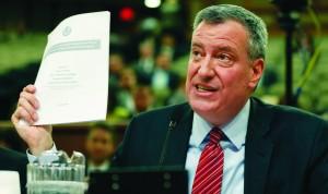Mayor Bill de Blasio testifies during a joint legislative hearing in Albany.