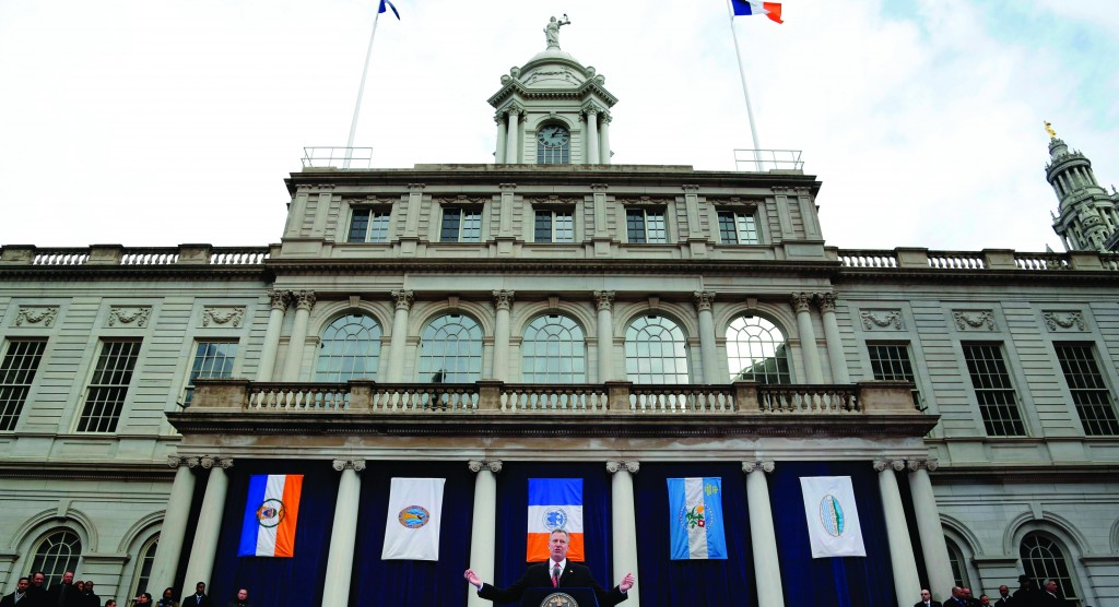 Mayor Bill de Blasio speaks after being sworn in at City Hall, Wednesday. (New York City Mayor's Office)