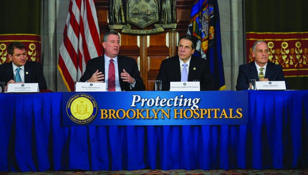 Mayor Bill de Blasio speaks on Monday during a news conference with Gov. Andrew Cuomo at the Capitol. (AP Photo/Mike Groll)