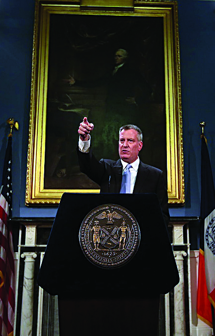 Mayor Bill de Blasio at a City Hall press conference, Thursday. (Office of the Mayor)
