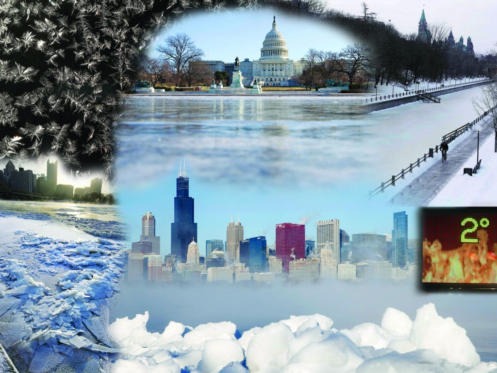 Clockwise from Left: Frost is shown on a bus stop in Detroit. The reflecting pool in front of the U.S. Capitol building is frozen over. A man cycles along the Rideau Canal in Ottawa. A fiery backdrop on a display shows a temperature of two degrees along Lone Oak Road in Paducah, Ky. The Chicago skyline is seen beyond the sea smoke rising off Lake Michigan in Chicago, Illinois. With temperatures -5 degrees, the sun rises over the skyline of Pittsburgh and a frozen Allegheny River. (Graphics: Rachel A./Hamodia. Photo credit: AP Photos)