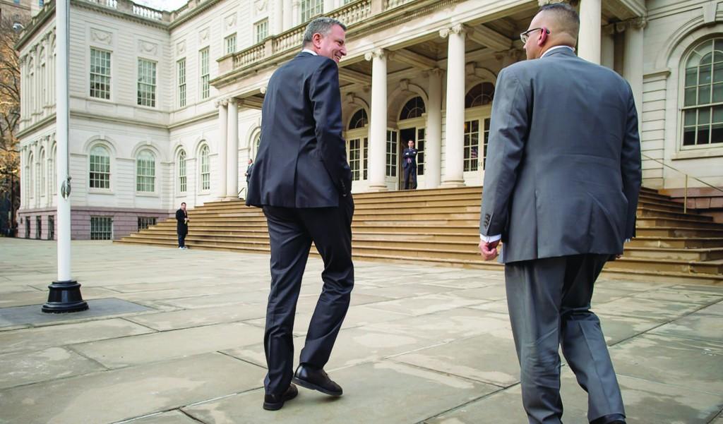 Mayor Bill de Blasio on Friday heads toward City Hall. (Rob Bennett/ Office of the Mayor)