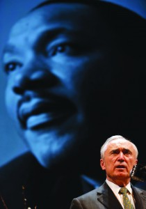 Police Chief Bill Bratton on Monday at a tribute to Martin Luther King. (AP Photo/Seth Wenig)