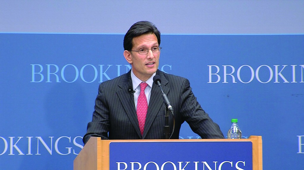 House Majority Leader Eric Cantor (R-Va.) speaking at the Brookings Institute on school choice last Wednesday. (Brookings Institute)