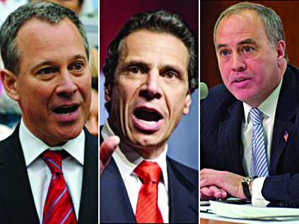 (L-R) Attorney General Eric Schneiderman, Gov. Andrew Cuomo and Comptroller Thomas DiNapoli.