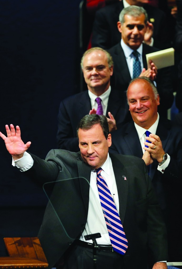 Gov. Chris Christie at his inauguration Tuesday for a second term. (AP Photo/Mel Evans)