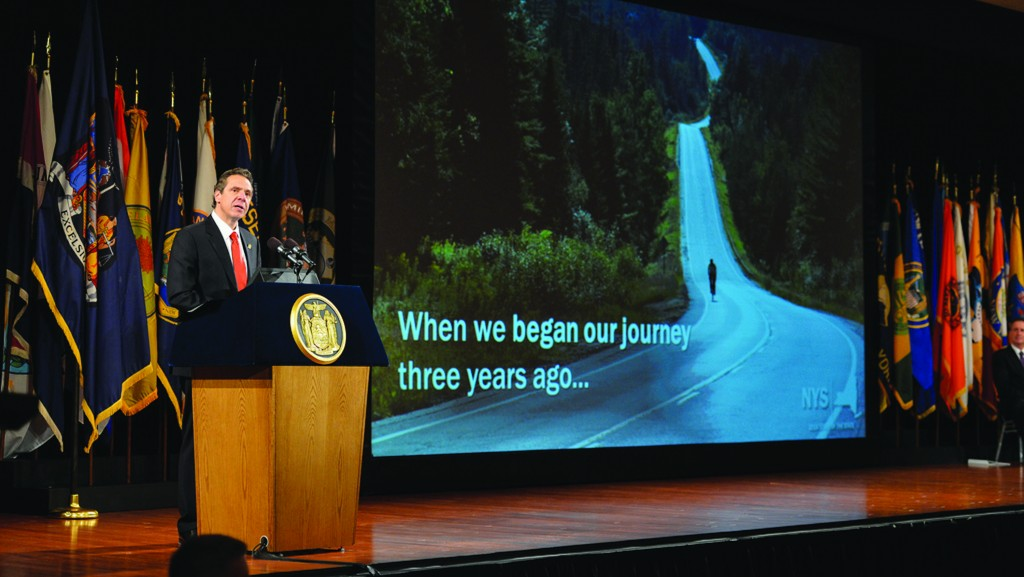 Gov. Andrew Cuomo on Wednesday giving his 2014 State of the State address in a Albany convention hall. (Office of the Governor)