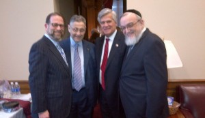 (L-R) Leon Goldenberg, Assembly Speaker Sheldon Silver, Senate Majority co-leader Dean Skelos and Rabbi Shmuel Lefkowitz meeting in the Capitol prior to Gov. Cuomo's address Wednesday.